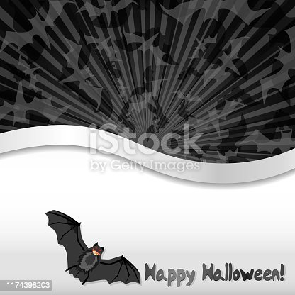 Halloween background with bats and place for text, vector illustration, part 3