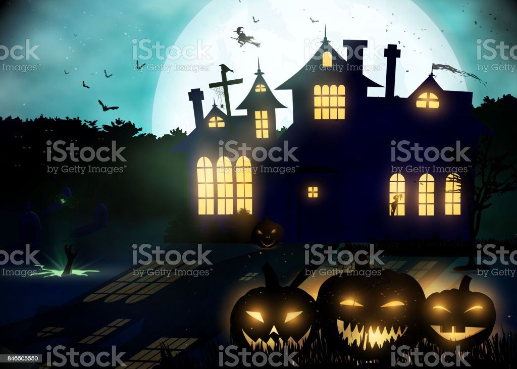 Halloween background. Poster template. vector art illustration