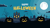 Halloween background. Pumpkins and scary castle on graveyard. Vector illustration in flat style.