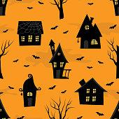 istock Halloween background. Seamless pattern. Spooky village 1270825513