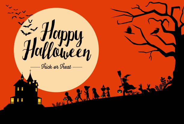 halloween background, silhouette of children going trick or treating, vector illustration - halloween stock illustrations