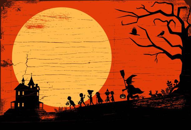 stockillustraties, clipart, cartoons en iconen met halloween achtergrond, silhouet van kinderen gaan truc of behandelen op een houten bord, vectorillustratie - kostuum