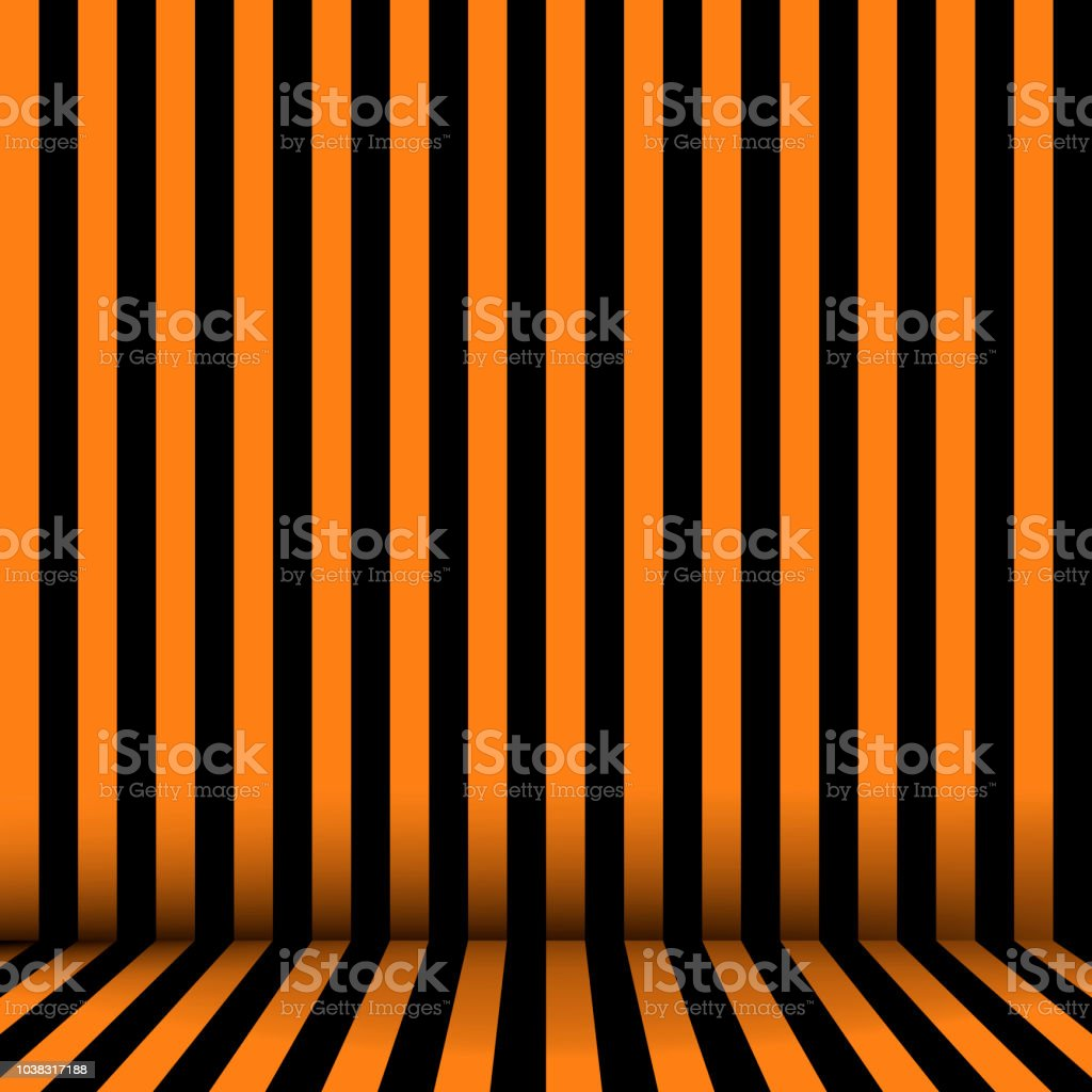 Chambre En Orange Et Noir à Rayures Fond Dhalloween Vector ...