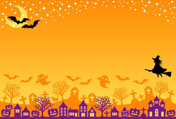 Halloween background. Halloween postcard.  street, grave and starlit sky. spooky halloween town stock illustrations