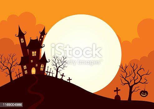 Halloween,holiday,castle,hill,full moon,night,illustration,background,design
