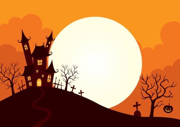 Halloween background Halloween,holiday,castle,hill,full moon,night,illustration,background,design scary halloween scene silhouettes stock illustrations