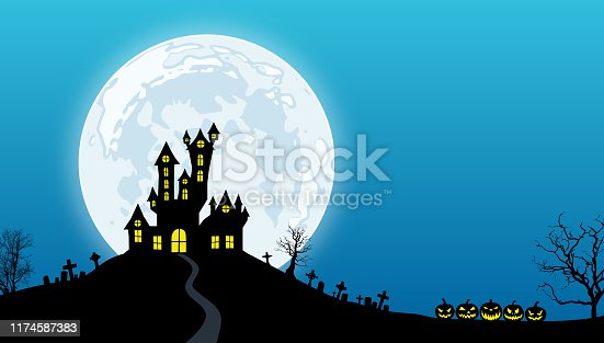 Black silhouettes of spooky house above hill, dead trees, tombs and pumpkins against a blue night sky with full moon.
