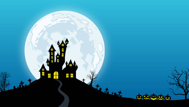 Halloween background Black silhouettes of spooky house above hill, dead trees, tombs and pumpkins against a blue night sky with full moon. scary halloween scene silhouettes stock illustrations