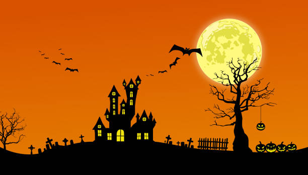 Halloween background Black silhouettes of spooky house, dead trees, tombs, fence, spider and pumpkins against an orange night sky with full moon. scary halloween scene silhouettes stock illustrations