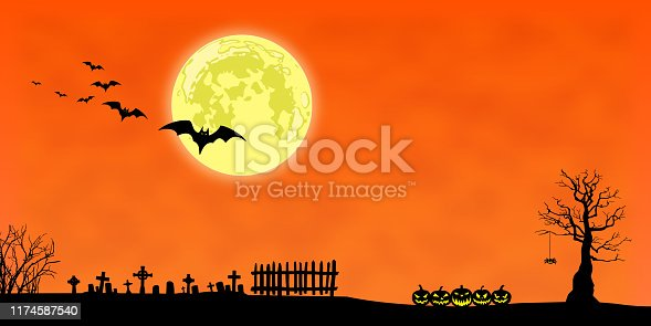 Black silhouettes of dead trees, fence, tombs, pumpkins, and flying bats against an orange night sky with full moon.