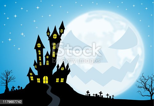 Spooky house/castle and cemetery setting silhouette against a blue starry sky at night with horror face full moon.