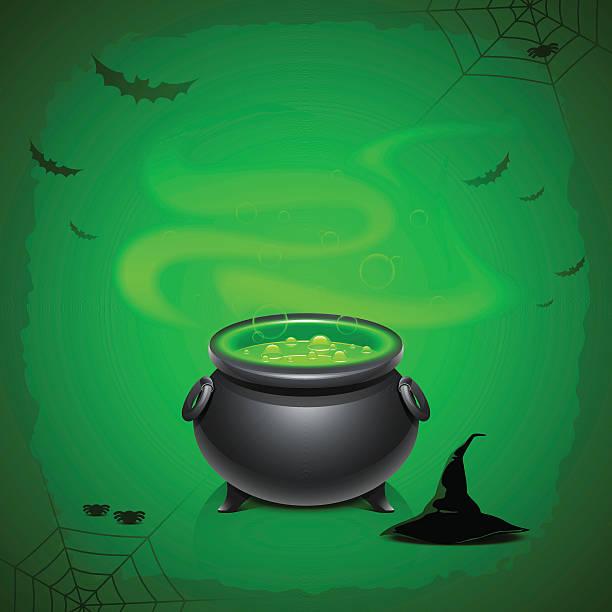 Halloween background Halloween background with magical pot love potion stock illustrations