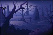 Illustration of beautiful Halloween Background, all elements is individual objects. No transparencies, used mesh tool for getting the shy effect, contains AI and jpeg, user can edit easily, Please view my profile.