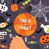 Halloween Background. Vector Illustration. Flat Icons with Square Frame. Trick