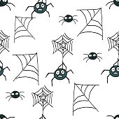 Halloween background. Vector seamless patternwith pumpkins, vampires, witches, spiders, bats.