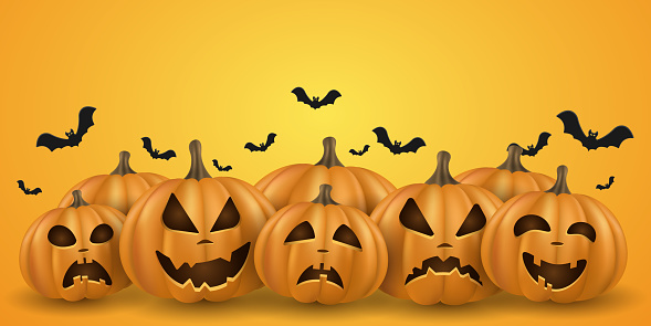 Halloween background with 3d emotional cartoon cute smiling pumpkins with bats. Holiday design for cover, banner, party poster invitation. Trick or treat. Vector illustration