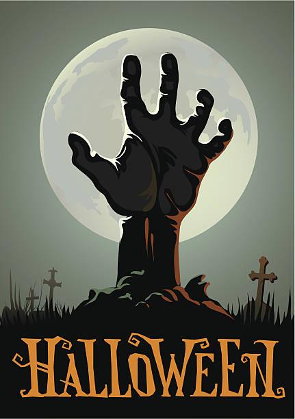 bildbanksillustrationer, clip art samt tecknat material och ikoner med halloween background with a zombie hand - zombie