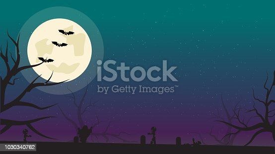 istock Halloween Background with Bats, Zombies and Full Moon. Flyer or Invitation Template for Halloween Party with Empty Space for your Text. illustration. 1030340762