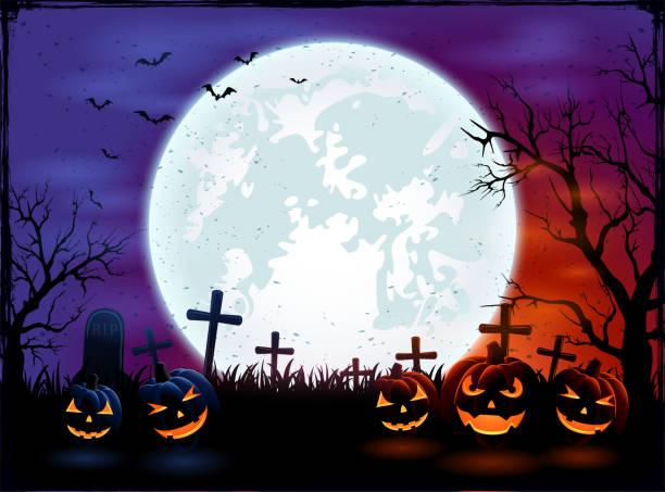 bildbanksillustrationer, clip art samt tecknat material och ikoner med halloween bakgrund med stora moon och pumpor - halloween background