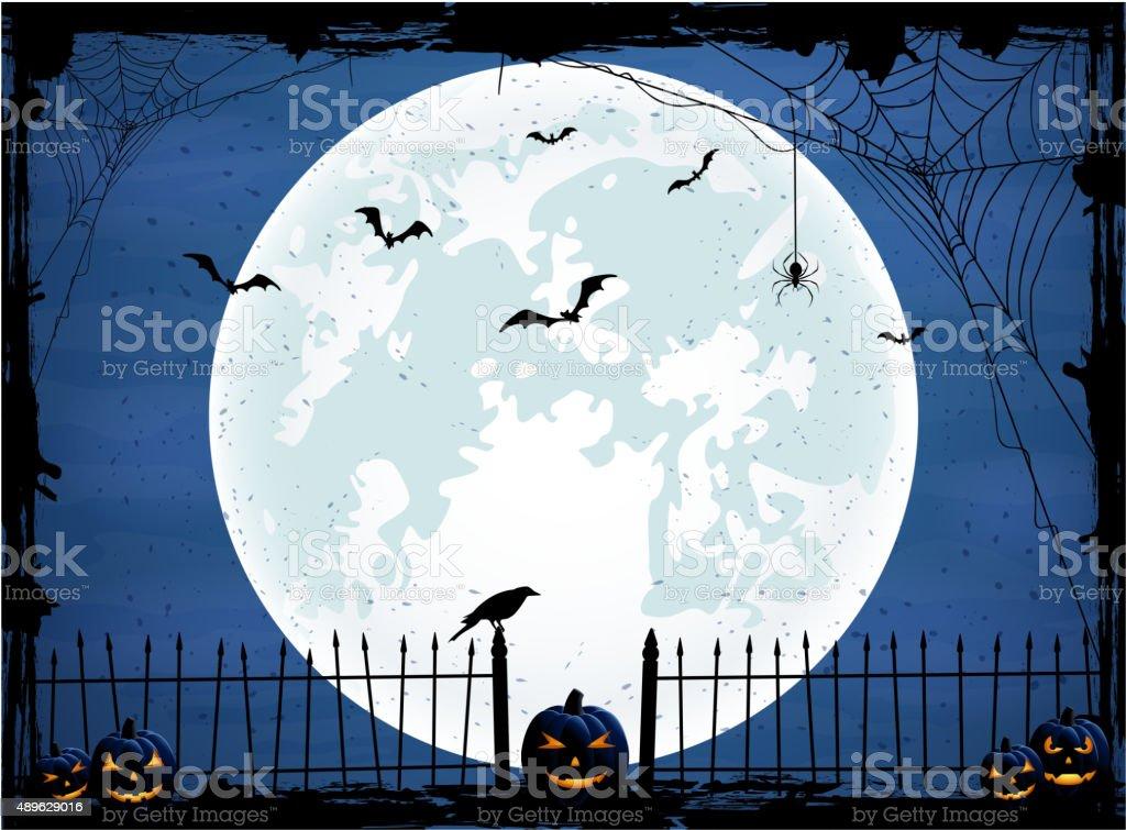 Halloween background with blue Moon vector art illustration