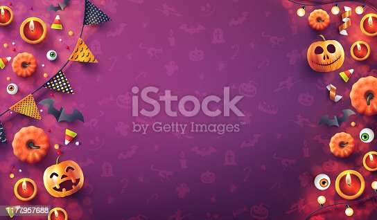 istock Halloween  background with candle light, pumpkin and Halloween Elements on seamless pattern background.Romantic date night Concept.Website spooky,Background or banner Halloween template.Vector illustration eps 10 1177957688