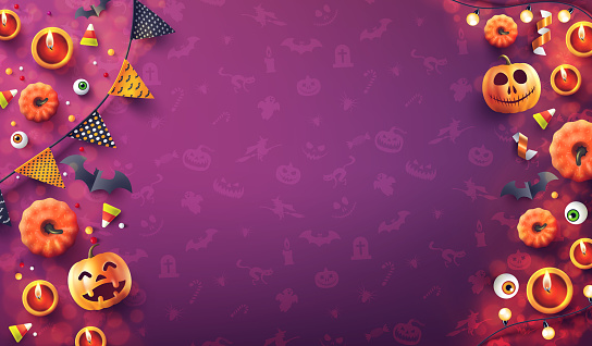 Halloween  background with candle light, pumpkin and Halloween Elements on seamless pattern background.Romantic date night Concept.Website spooky,Background or banner Halloween template.Vector illustration eps 10