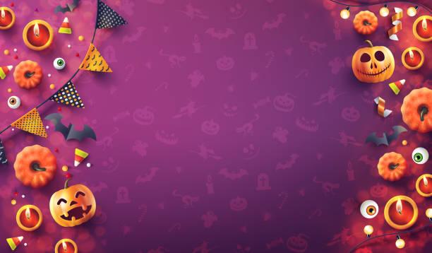 illustrazioni stock, clip art, cartoni animati e icone di tendenza di sfondo halloween con luce di candela, zucca e halloween elementi su sfondo modello senza soluzione di continuità. romantico data notte concept.website spettrale,sfondo o banner modello halloween. illustrazione vettoriale eps 10 - halloween