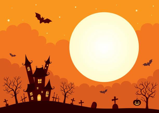 illustrazioni stock, clip art, cartoni animati e icone di tendenza di sfondo di halloween con castello e luna piena - halloween