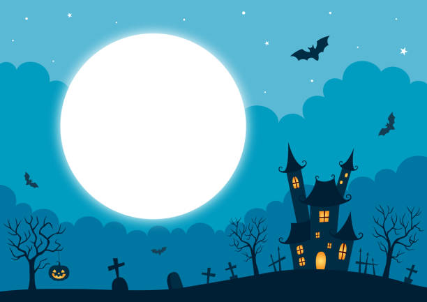kale ve dolunay ile cadılar bayramı arka plan - halloween background stock illustrations