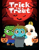 Halloween background with children trick or treating