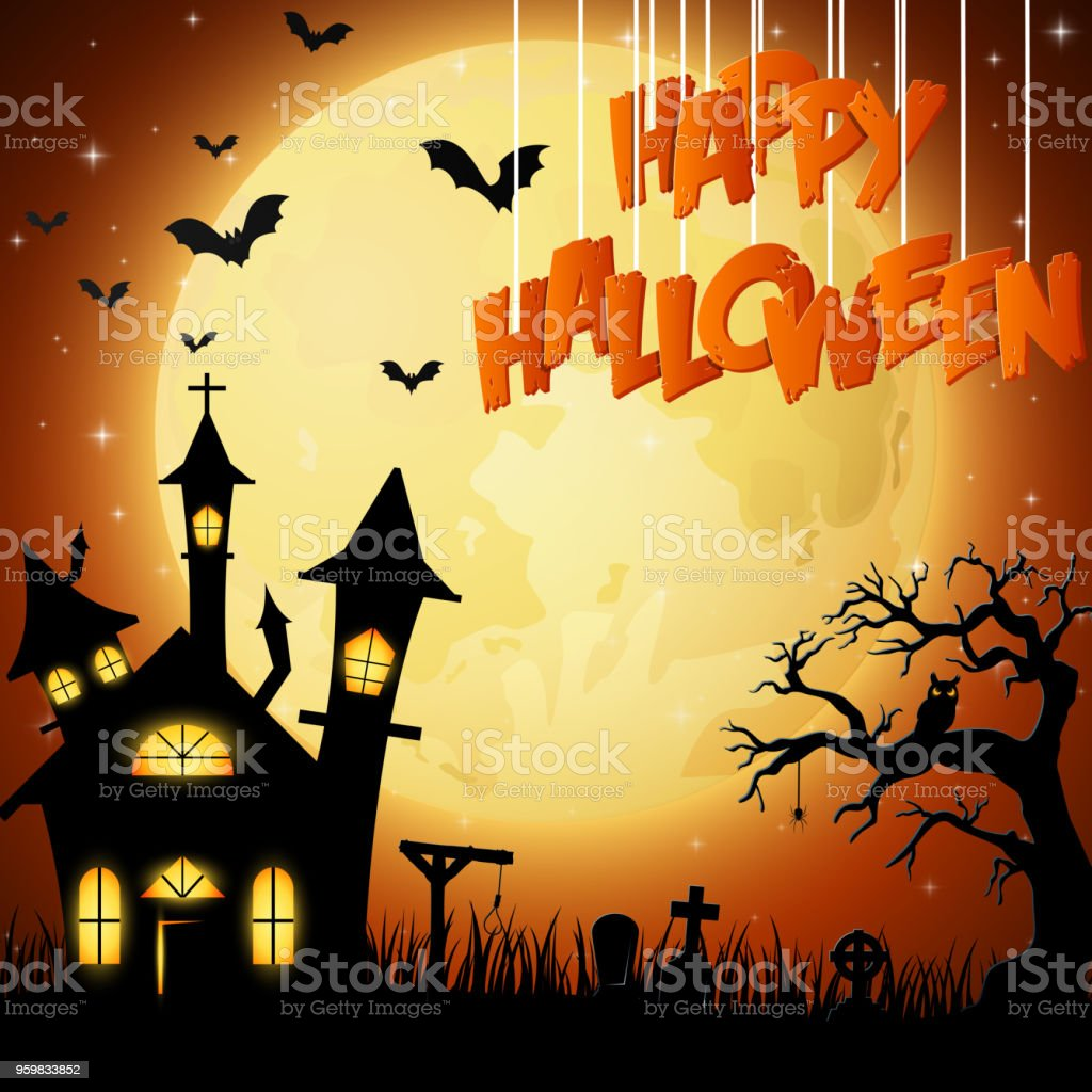 halloween background with church on the full moon stock vector art