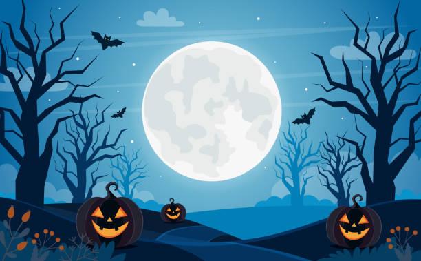 illustrazioni stock, clip art, cartoni animati e icone di tendenza di sfondo halloween con luna piena, zucche e alberi - halloween
