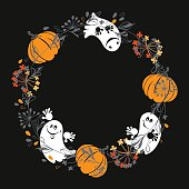 Halloween background with funny ghosts and pumpkins. Round vector illustration with place for text on black background. Can be greeting card, invitation or design element.