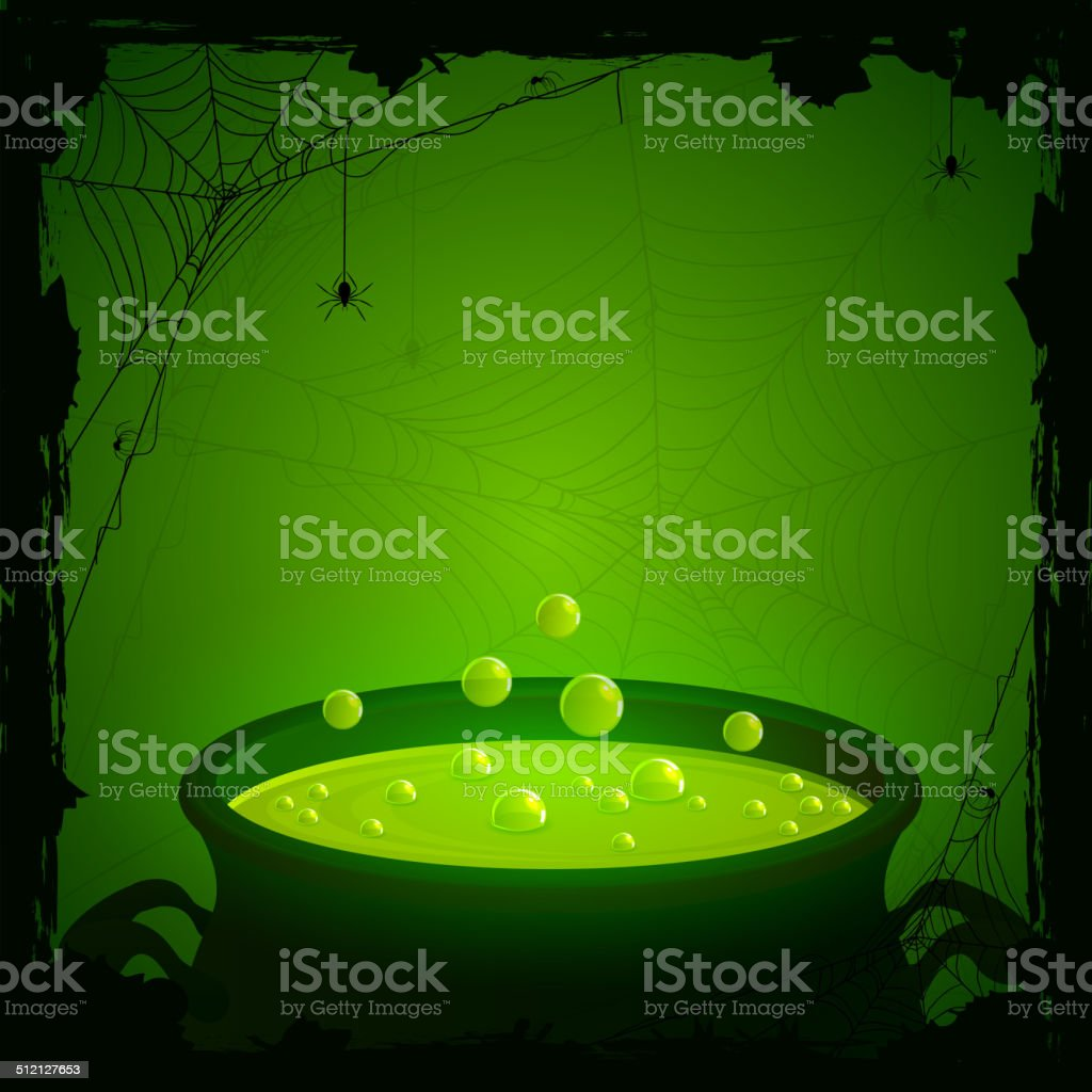 Halloween background with green potion vector art illustration
