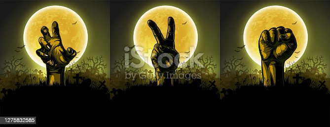 istock Halloween background with hands. High detailed realistic illustration. 1275832585