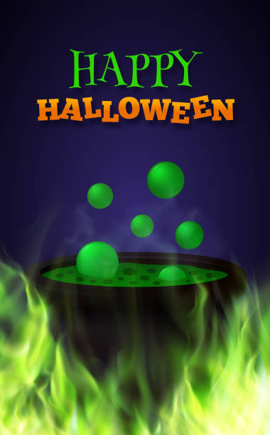 Halloween background with hot green potion in old witch's cauldron on fire. Vector illustration Halloween party vector background potion stock illustrations