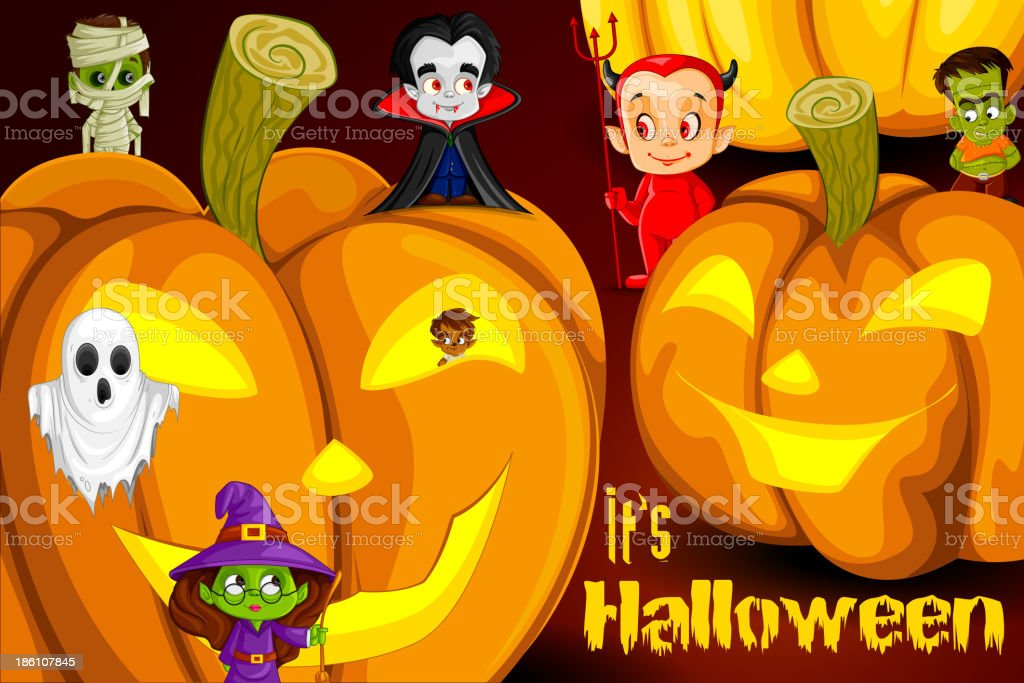 Halloween background with Monsters royalty-free stock vector art