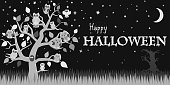 Halloween background with owls on tree, night sky, moon and the words Happy Halloween
