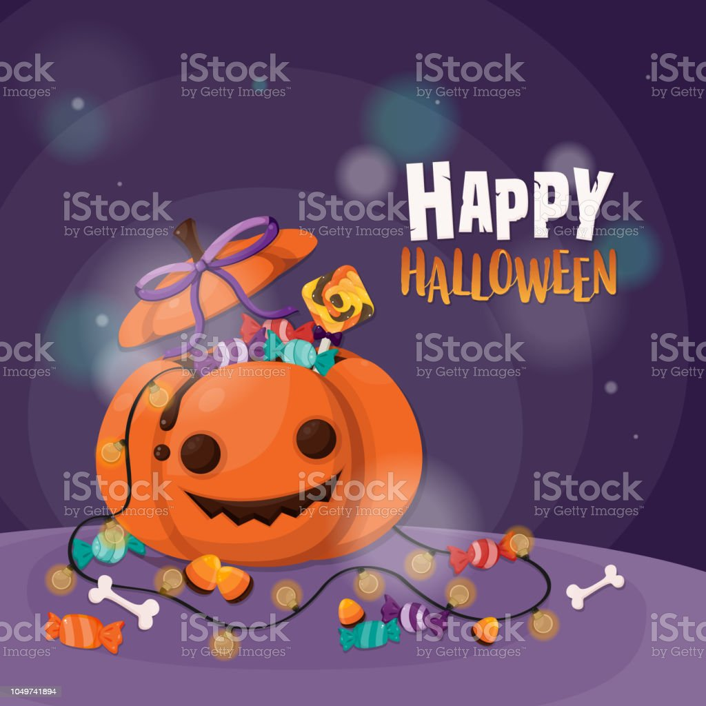 Halloween background with pumpkin and candy trick or treat. Flyer or invitation template for Halloween party.