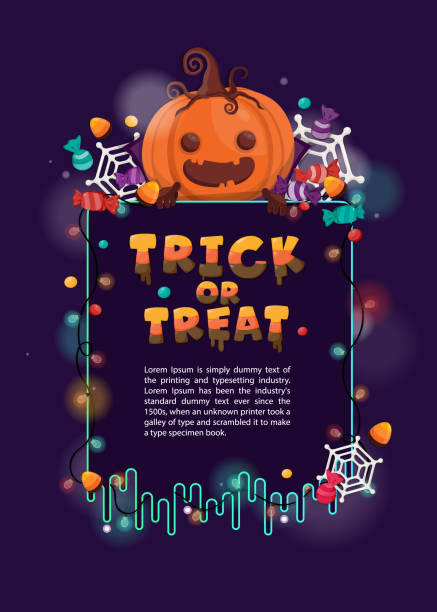 halloween background with pumpkin and candy trick or treat. flyer or invitation template for halloween party. - halloween candy stock illustrations