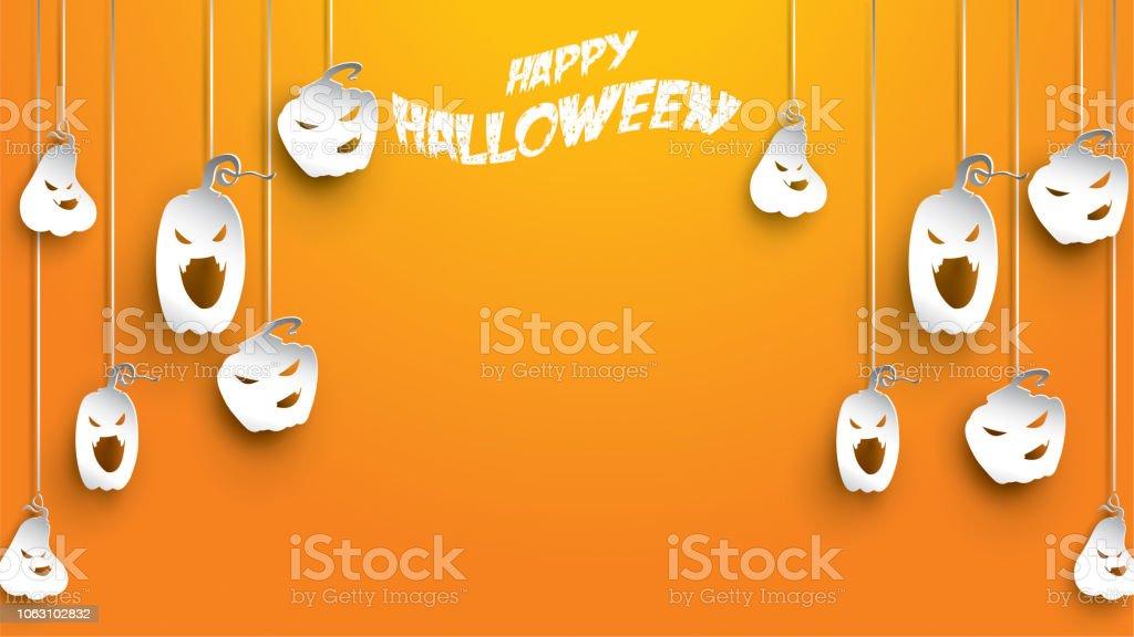 Halloweenhintergrund Mit Kurbis Schnitzen Stil Papierkunst Banner Poster Flyer Oder Einladung Vorlage Partei Vektorillustration Stock Vektor Art Und Mehr Bilder Von Abstrakt Istock