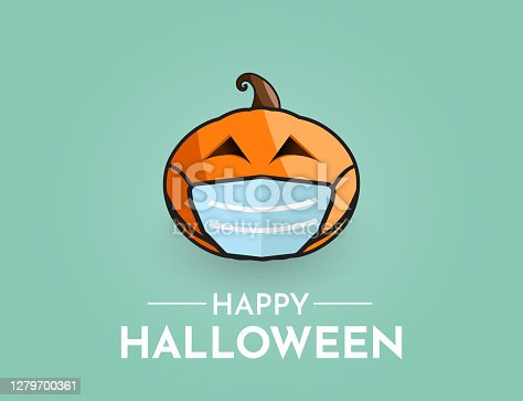 istock Halloween background with pumpkin wearing mask. Vector 1279700361