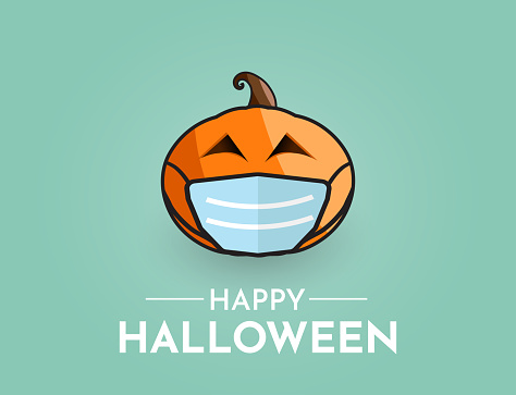 Halloween background with pumpkin wearing mask. Vector