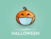 Halloween background with pumpkin wearing mask. Vector illustration. EPS10