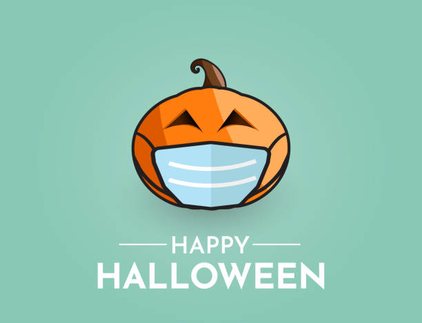 Halloween background with pumpkin wearing mask. Vector Halloween background with pumpkin wearing mask. Vector illustration. EPS10 halloween covid stock illustrations