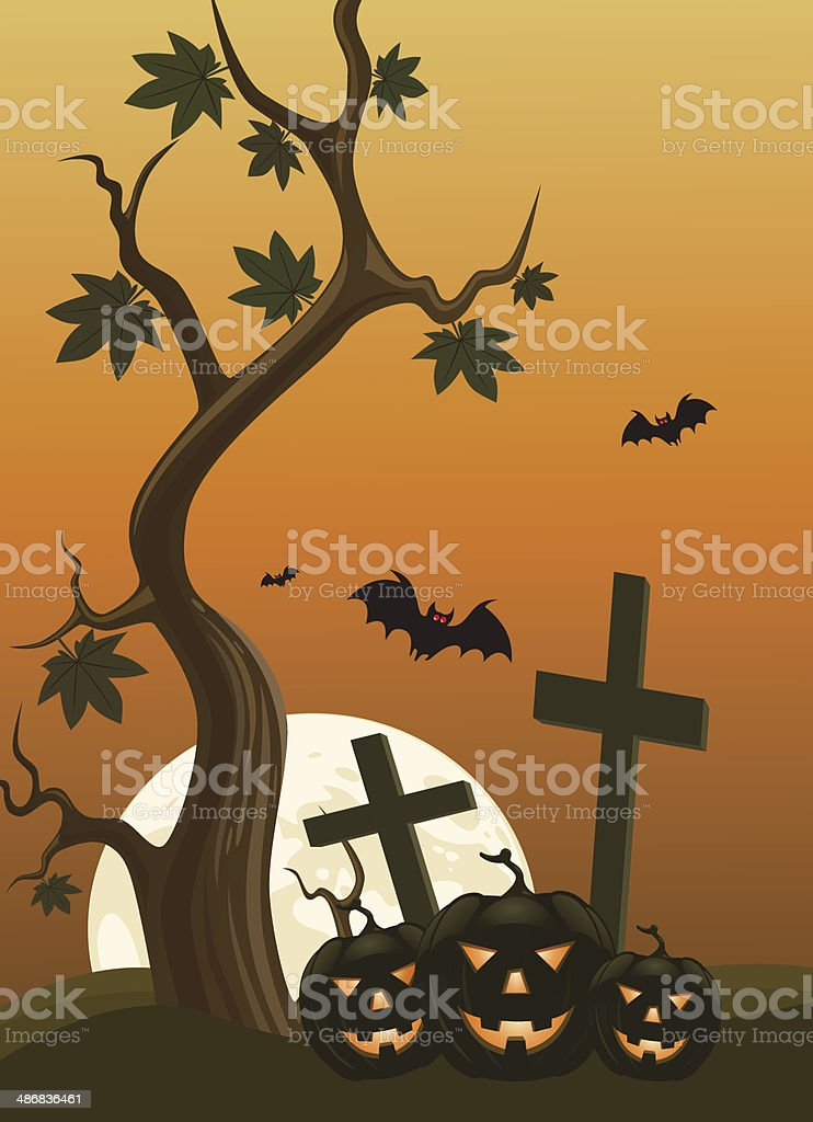 Halloween background with pumpkins and moon in the back royalty-free stock vector art