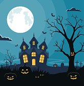 Halloween background with pumpkins and scary castle on graveyard. Invitation card on celebration Halloween.