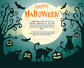 Halloween background with pumpkins, spiders, bats and cats.