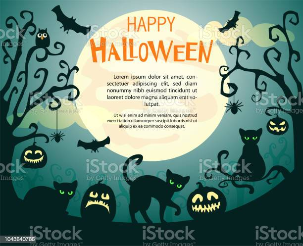 Halloween background with pumpkins spiders bats and cats vector id1043640766?b=1&k=6&m=1043640766&s=612x612&h=3kxlsng76pk4ssrfyshylj0c2cdvcshd2vkodmivqik=