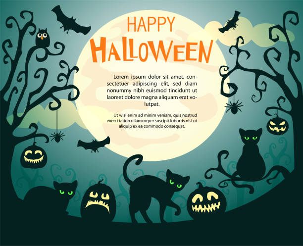 Halloween background with pumpkins, spiders, bats and cats. Halloween background with pumpkins, cats, spiders, bats and text Happy Halloween against the full moon. Vector Illustration. halloween cat stock illustrations
